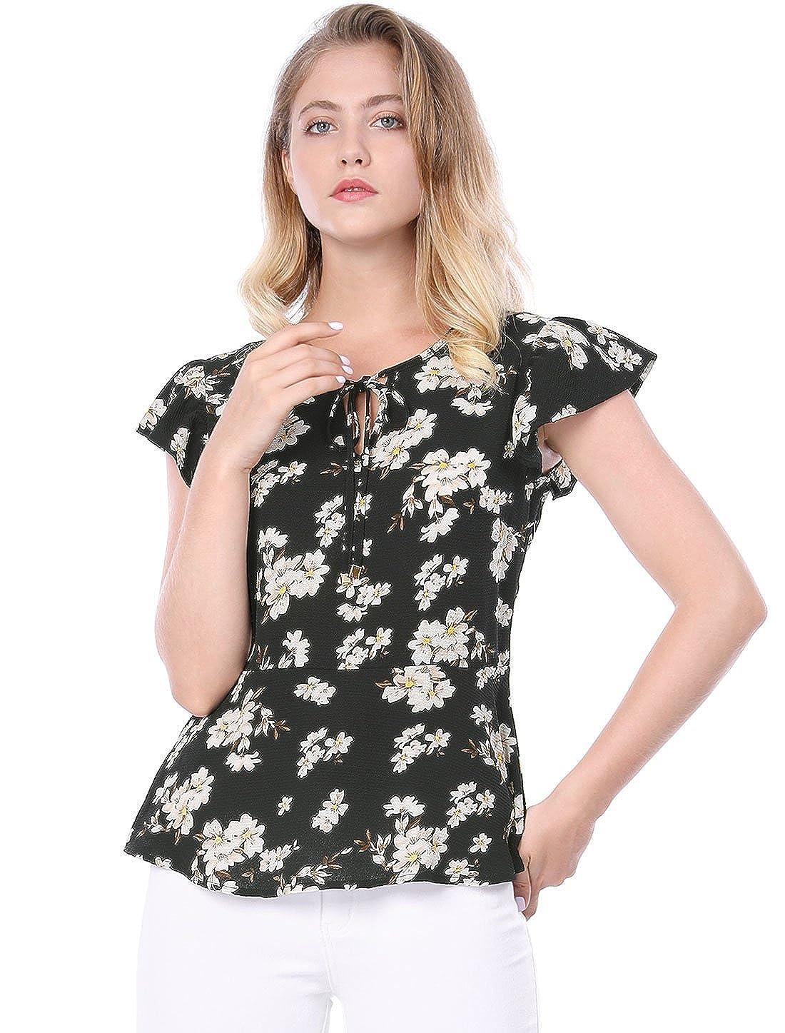 87973dc017467b Allegra K Women s Ruffle Sleeve Tie Neck Floral Peplum Top at Amazon Women s  Clothing store