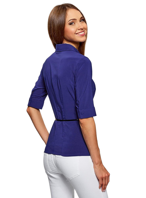 oodji Ultra Mujer Blusa Ajustada con Cinturón: Amazon.es: Ropa y accesorios