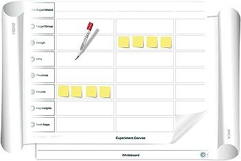 Experiment Canvas/Whiteboard: beidseitig beschreib- & abwischbares mobiles Whiteboard, einroll- & wiederverwendbar, Vorderseite: Experiment Canvas Vorlage, Rückseite: Whiteboard, Gr.: ca. 85 x 118 cm