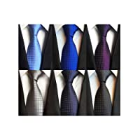 LOLONG Men's Classic Silk Tie Set 6 PCS Necktie