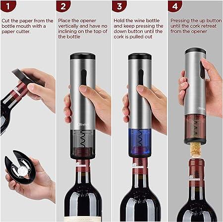 Olivivi Sacacorchos Electrico, Profesional Automatico Abrelatas de Vino, Abridor Botellas de Vino Inalámbrico con Cortador de Papel, Vertedor, Tapón de Vino Silicona de Vacío y Cable de Datos