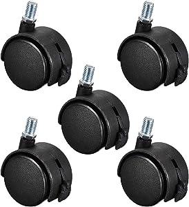 uxcell Furniture Casters 2 Inch Nylon M10 x 15mm Threaded Stem Swivel Caster Wheels w Brake, 38lb Capacity Each Wheel, 5 Pcs