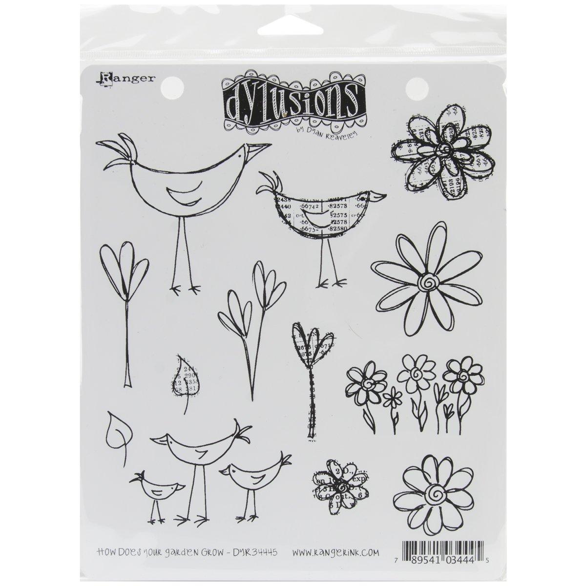Dylusions Stempel, Gummirand How Does Your Garden Grow Grow Grow Mehrfarbig B007QNYGWM     | Neu  39d3e0