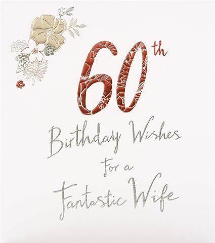 Hallmark Studio Carte D Anniversaire 60 Ans Pour Femme Avec Texte En Relief Sur Carton Texture Amazon Fr Fournitures De Bureau
