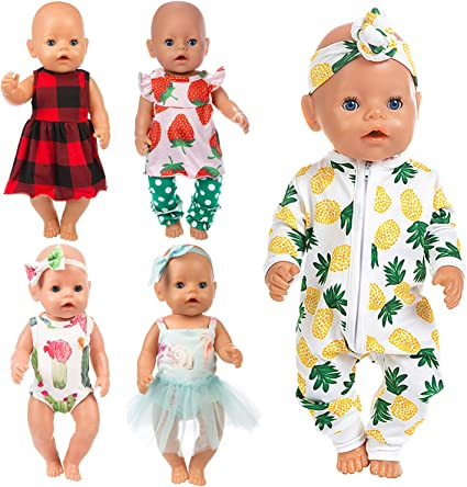Amer 5 Pcs Fashion Cute Dresses for 14 Inch to 16 Inch Baby Doll Clothes Dress