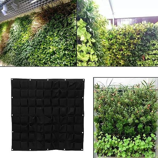 Yinuoday - Maceta de pared vertical con 72 bolsillos, para colgar en la pared, para jardín, interior y exterior, negro: Amazon.es: Jardín