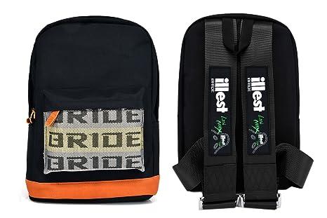 2d5a4a2642d Amazon.com : JDM Bride Racing Backpack with ILLEST Racing Harness Shoulder  Straps Seat Belt BLACK : Everything Else
