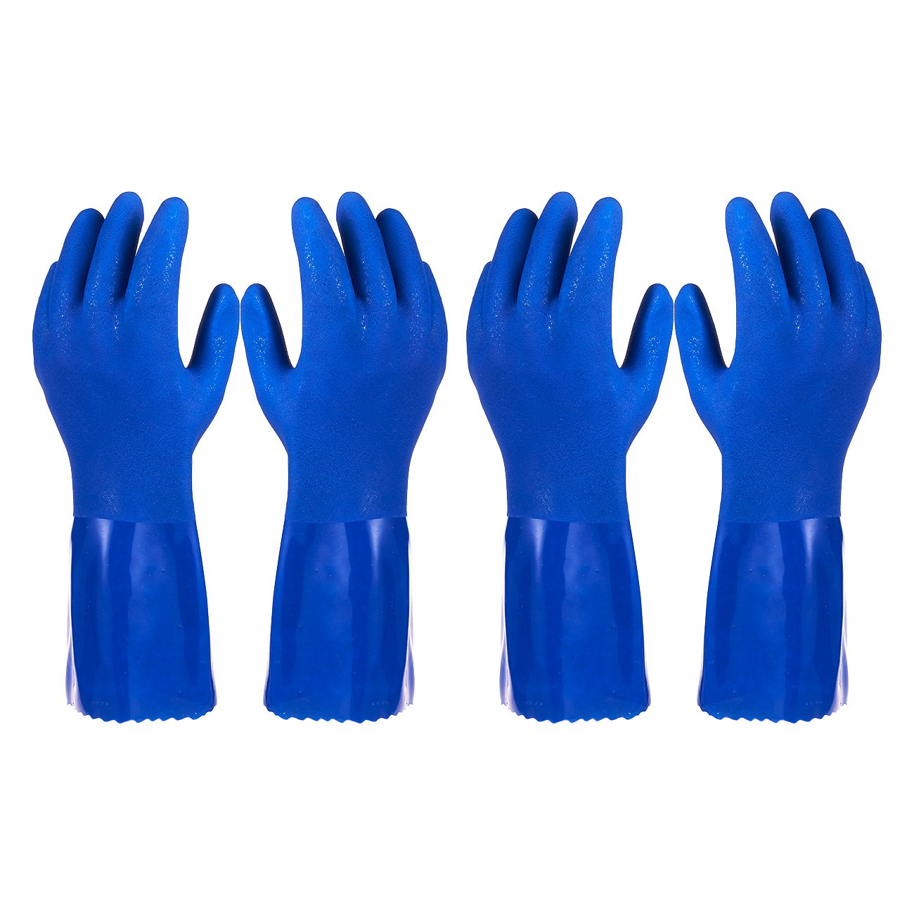Pack of 2 Pairs Household Gloves - Cotton Lined Dish Gloves - Dishwashing Gloves - Rubber Gloves - Kitchen Gloves, Blue, Medium by Juvale
