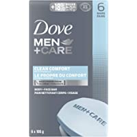 Dove Men+Care Body and Face Bar Soap for Healthy and Strong Skin Clean Comfort ¼ Moisturizing Cream 106 g Pack of 6