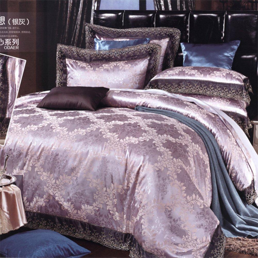 Uncle Sam LI-400TC europäischen Stil Mikrofaser Geometrische Muster Bettbezug-Set 4 Stück (1Duvet Abdeckungen 1Flat Blätter 2Pillowcases) -A König