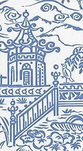Caspari Hand Towels Bathroom Paper Towels Luxury Guest Towels Paper Linen Asian Decor Pagoda Toile Blue Pack of 24