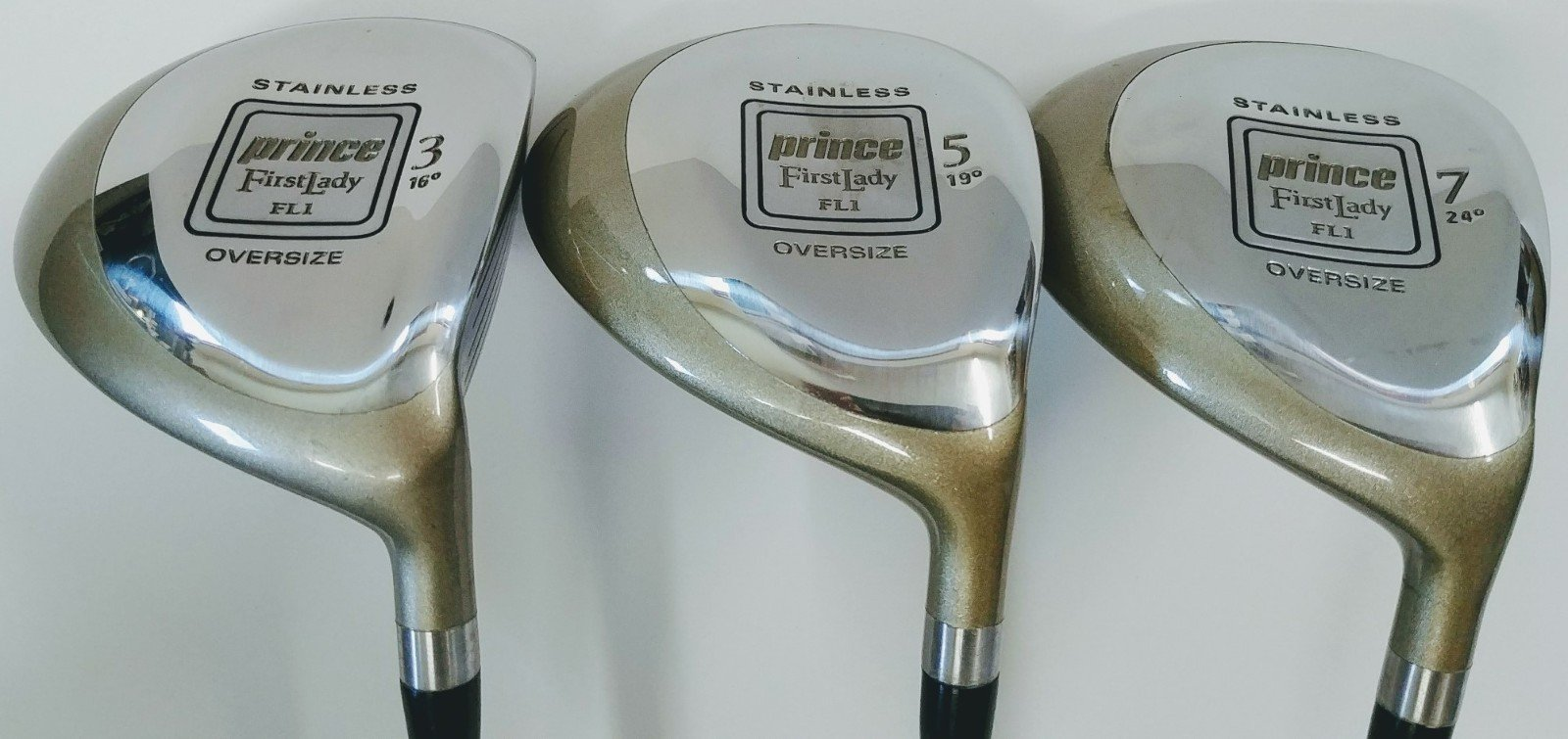Prince First Lady FL1, Set of 3 Women's (3, 5, 7) Fairway Wood Golf Clubs, Oversized, Graphite Shaft, Right-Handed