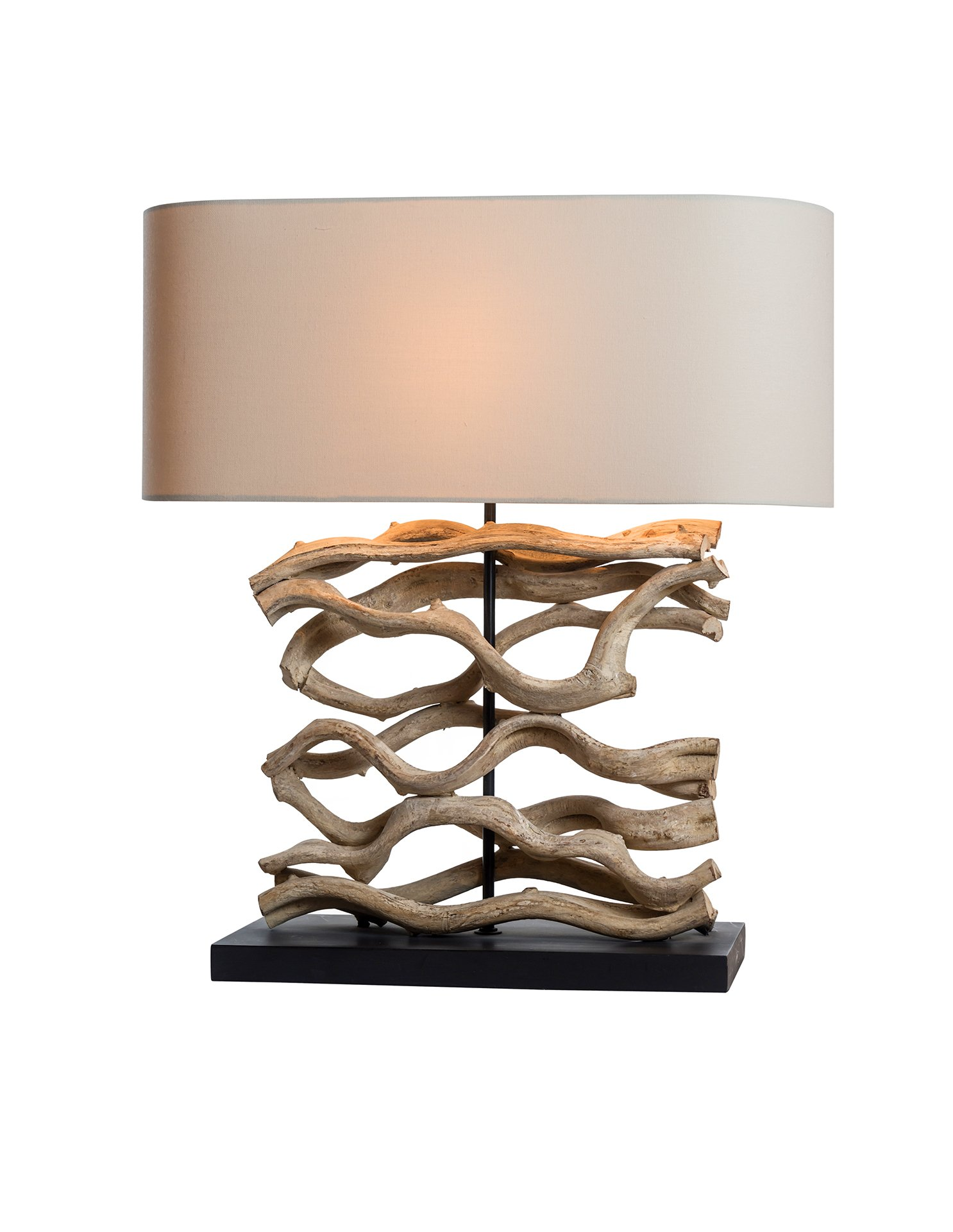 O'THENTIQUE Large Driftwood Vine Table Lamp | Natural Turned Twisted Wood Console Lamp with Linen Shade Design for Beach House Cabin Cottage Bedroom Living Room