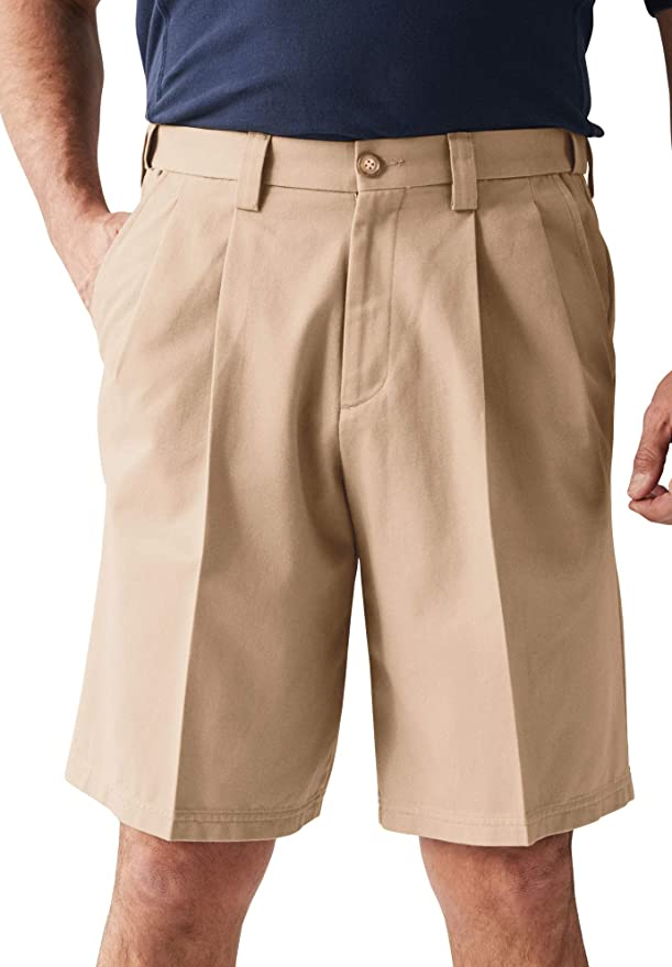 Vintage Style Mens Shorts KingSize Mens Big & Tall Wrinkle-Free Expandable Waist Pleat Front Shorts $34.26 AT vintagedancer.com