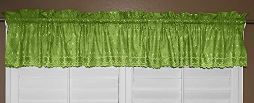 lovemyfabric Scalloped Bottom Cotton Eyelet Fabric Valance Tier Window Treatment 56 Wide 24 Tall, Lime Green