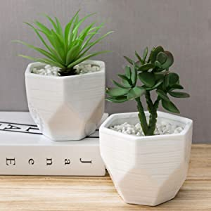 MyGift 5-inch Mini White Geometric Glazed Textured Ceramic Succulent Planter Pots, Set of 2