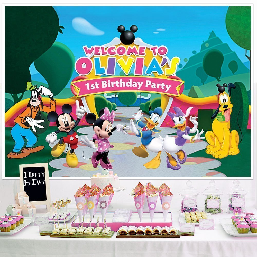 Amazon Mickey Mouse Clubhouse Birthday Banner Personalized Party Decoration Cake Table Backdrop