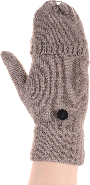 BYOS Women Winter Wool Blend Convertible Fingerless Flip over Knit Mitten  Gloves Glittens (Beige Plain) at Amazon Women's Clothing store