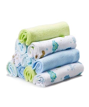 10 Count by Spasilk Spasilk Washcloths Blue Stripes