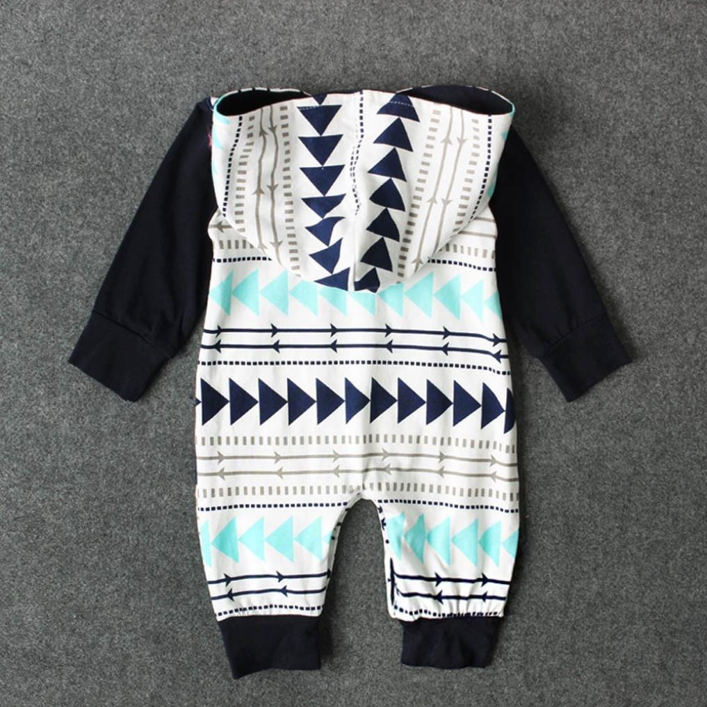 Ropa Beb/é Amlaiworld Reci/én nacido beb/é ni/ño ni/ña geometr/ía impresi/ón encapuchado mameluco trajes 0-24 Mes