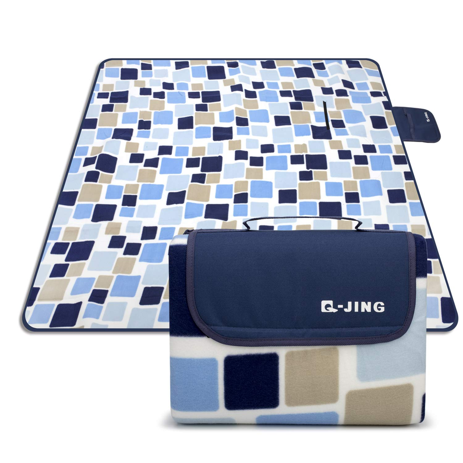 Q-JING Extra Large Picnic & Outdoor Blanket, Waterproof Handy Mat Tote for Camping Hiking Grass Travelling Dual Layers Multicolored Squares by Q-JING