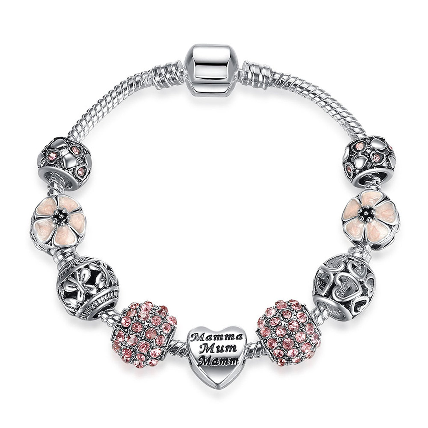 sensitives Original Silver 925 Crystal Four Leaf Clover Bracelet with Clear Murano Glass Beads Charm Bracelet Bangle for Women DIY Jewelry,PS3729,18cm