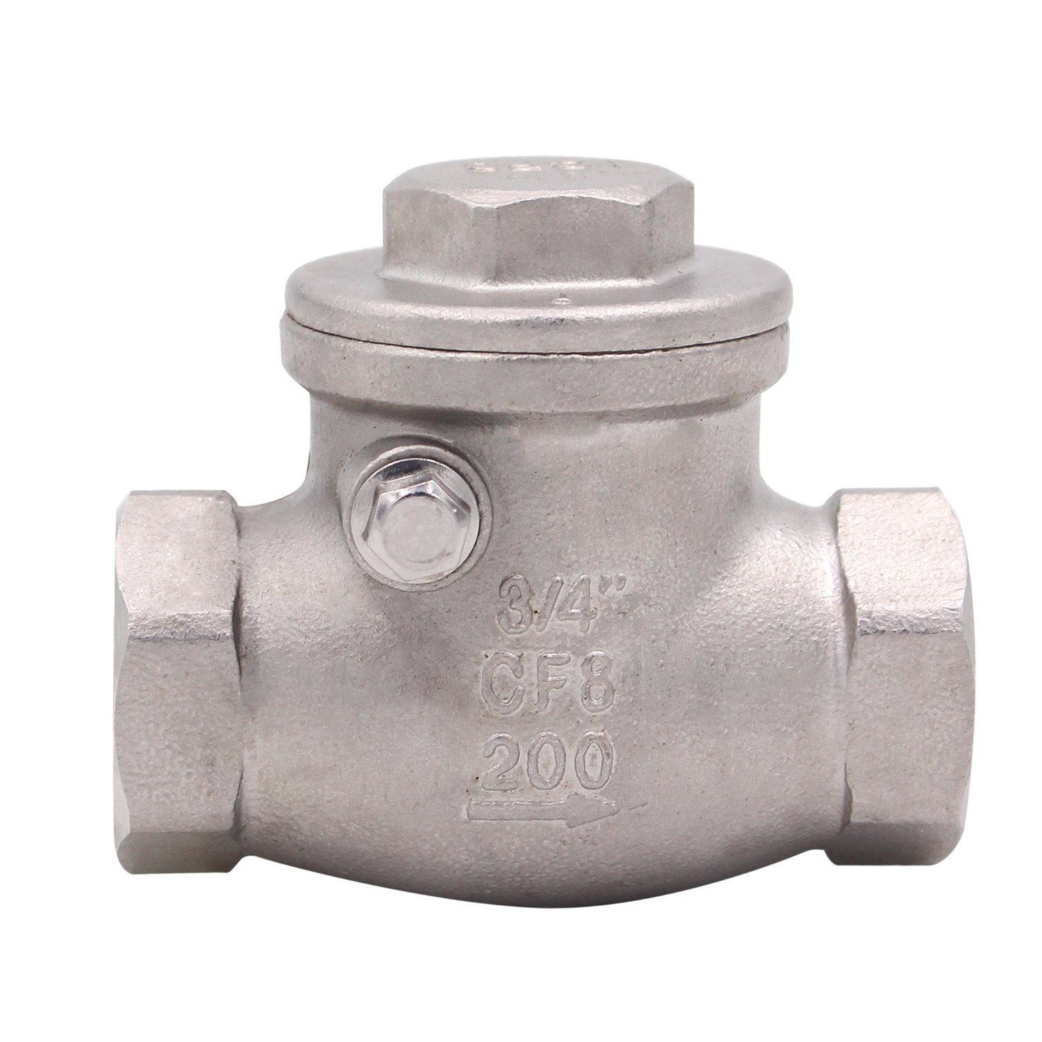 3/4 Inch Swing Check Valve - WOG 200 PSI Stainless Steel SS316 CF8M NPT