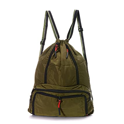 DAYGOS Drawstring Backpack Lightweight Foldable Waterproof Sports Gym Backpack  Bag (Army Green) 134c23e64a
