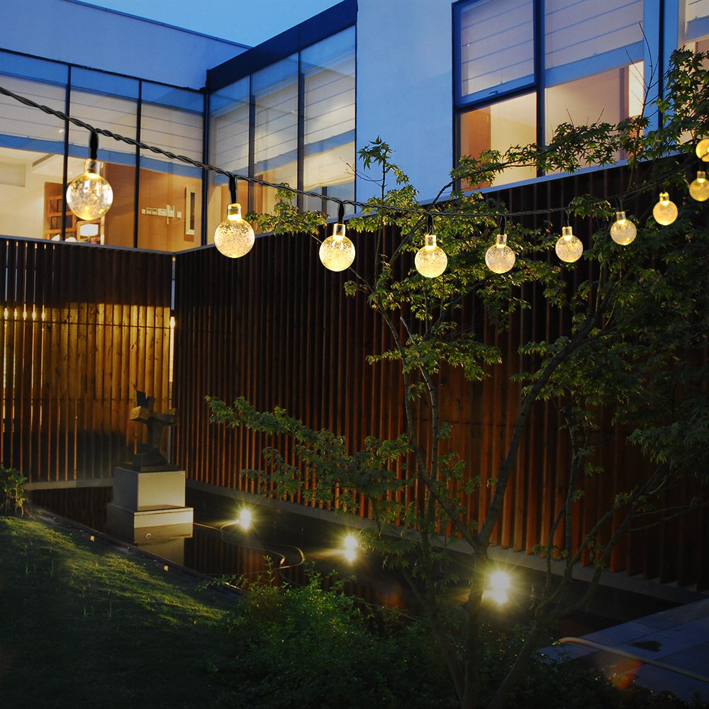 OMorc Solar String Lights, 20ft 30 LED Crystal Ball Solar Powered ...
