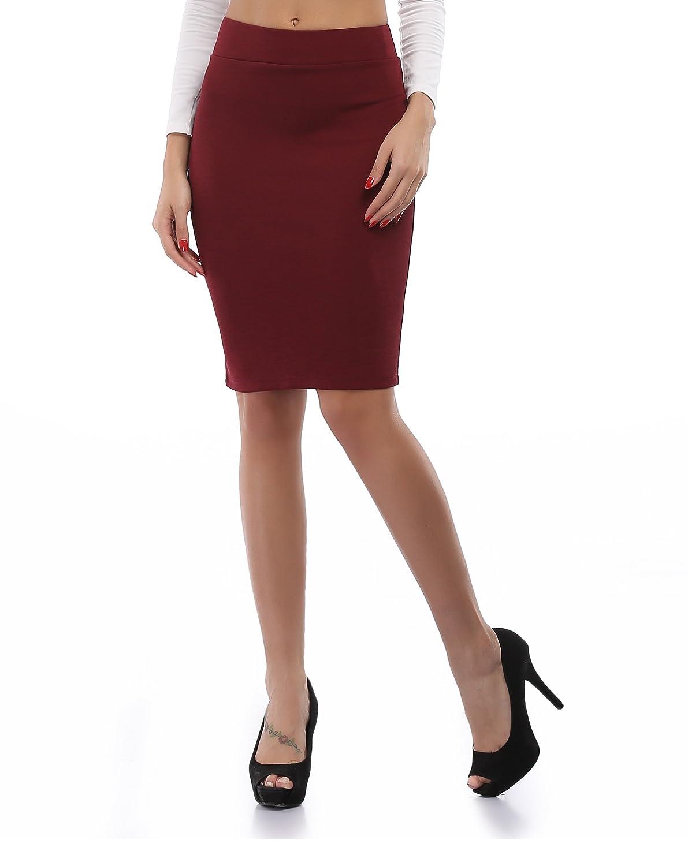 cheapestbuyレディースハイウエストボディコン鉛筆スカートよく伸びるShort Fitted Miniスカートピュアカラー B01LYKHXOB Small Burhundy Red Burhundy Red Small