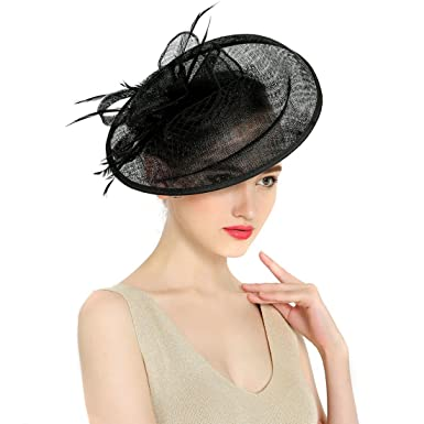KAXIDY Ladies Hats Fascinators Hair Clips Feather Party Flower Hair  Fascinators Wedding Feather Hats (Black 63c665293e5
