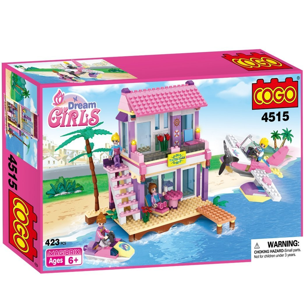 COGO Dream Girls Blocks Beach House Pink Friends Plastic Toys Seaside Villa Christmas Birthday Gift For Building Construction Play Set