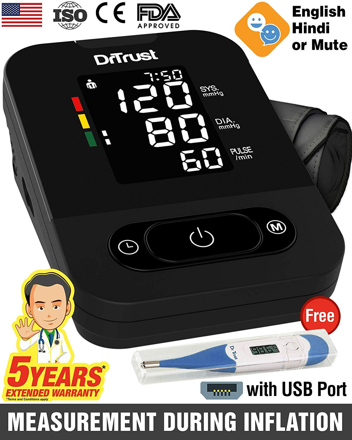 Talking Automatic Electronic Blood Pressure Monitor Machine