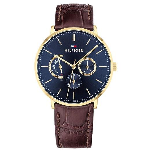 Tommy Hilfiger Reloj Multiesfera para Hombre de Cuarzo con Correa en Cuero 1710376: Amazon.es: Relojes