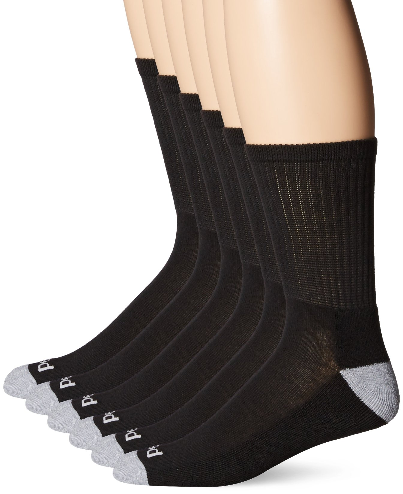 PEDS Men's 6 Pack Cushion Crew Socks with Coolmax, Black/Light Grey Heather, 6-12.5