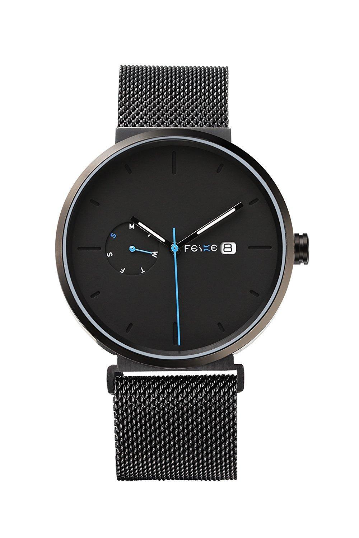 FEICE Waterproof Quartz Men's Watch Multifunction Luminous Wrist Watch for men Leather Watch Bands Casual Simple Business Watch Best Gift #FS018 (Black-2)