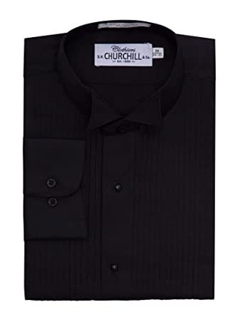 arrives united states 2019 best sell S.H. Churchill & Co. Black Wing Pleated Tuxedo Shirt at ...