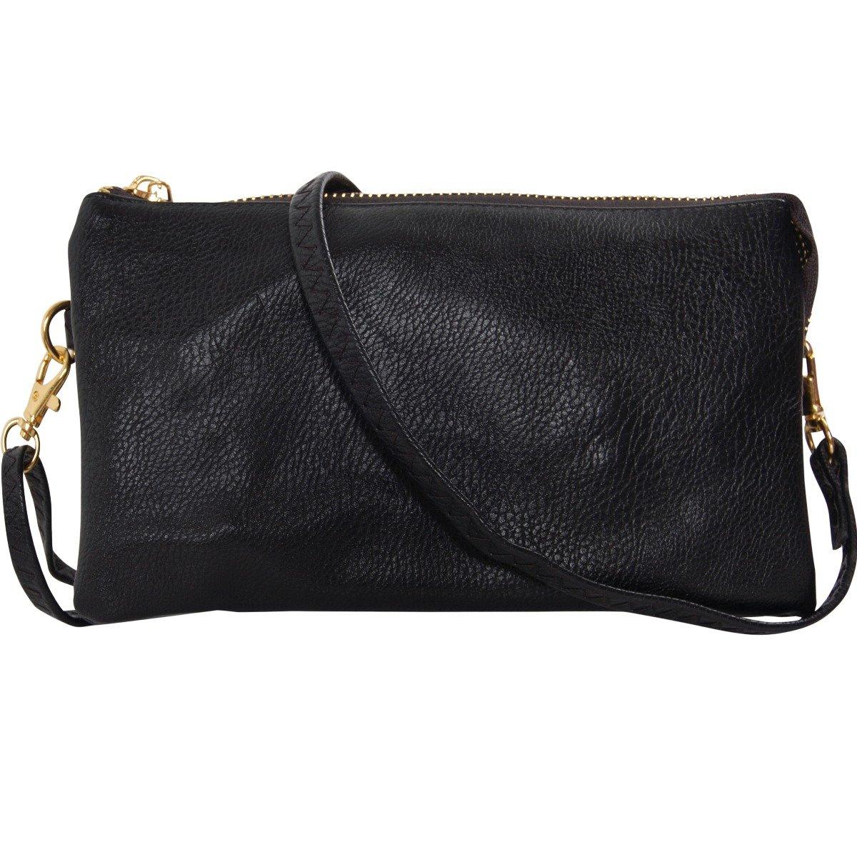 e29300a6d Humble Chic Vegan Leather Small Crossbody Bag or Wristlet Clutch Purse,  Includes Adjustable Shoulder and Wrist Straps, Black: Handbags: Amazon.com