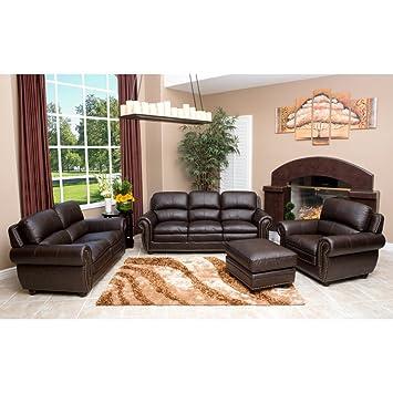 abbyson living harrison 4 piece top grain leather sofa set amazon rh amazon ca