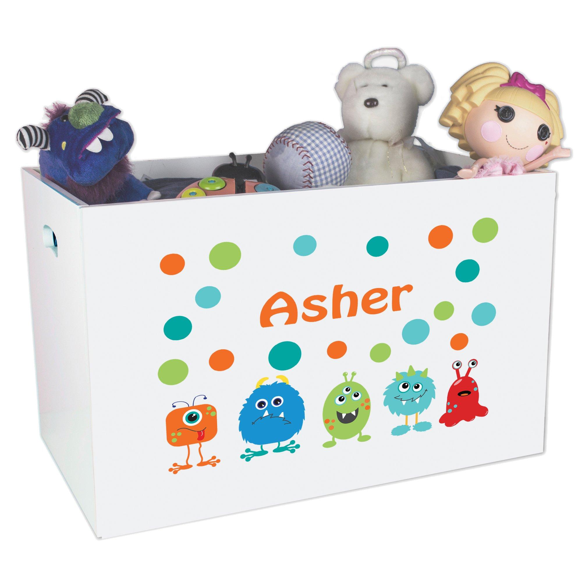 Personalized Mash Childrens Nursery White Open Toy Box
