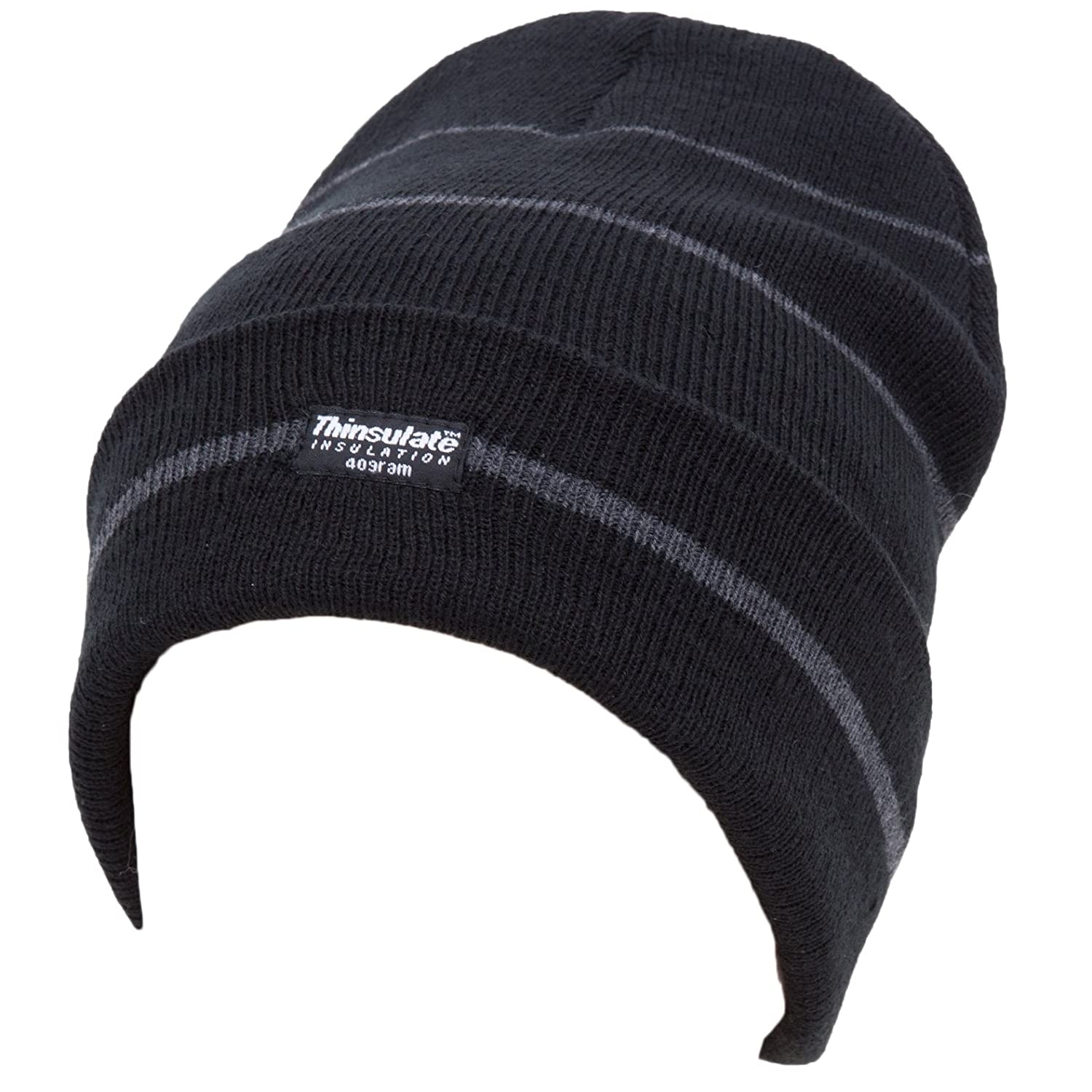 01a28b1d7cc Amazon.com  Universal Textiles Mens Striped Thinsulate Knitted Thermal  Winter Ski Hat (3M 40g) (One Size) (Grey Black Stripes)  Clothing