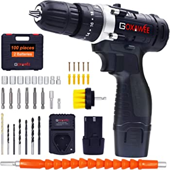 GOXAWEE 12V Cordless Hammer Drill Kit