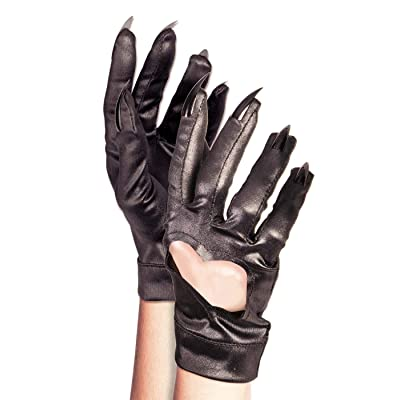 Unisex-Adults Heart Gloves w/Claws, Black, Standard: Toys & Games