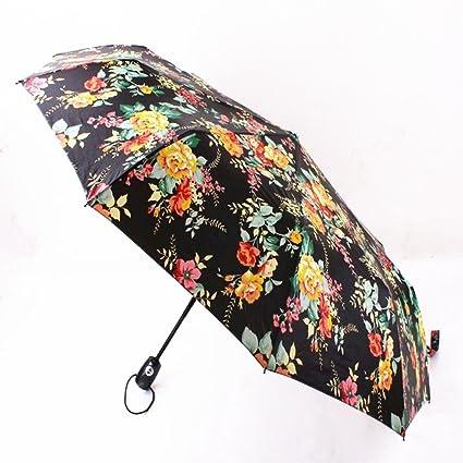 Mujer Hombre Paraguas Viaje Parasol Plegable Patrón de Flores Al Aire Libre Paraguas de Viaje Pequeño