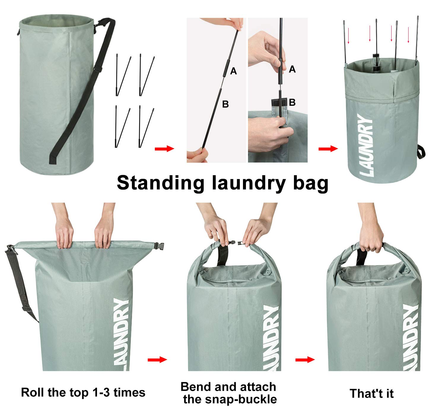 ZERO JET LAG Large Collapsible Laundry Hamper Tall Laundry Basket Round Dirty Clothes Hamper Foldable Waterproof Bag Standing Laundry Bin Heavy Duty Laundry Liners (Gray)