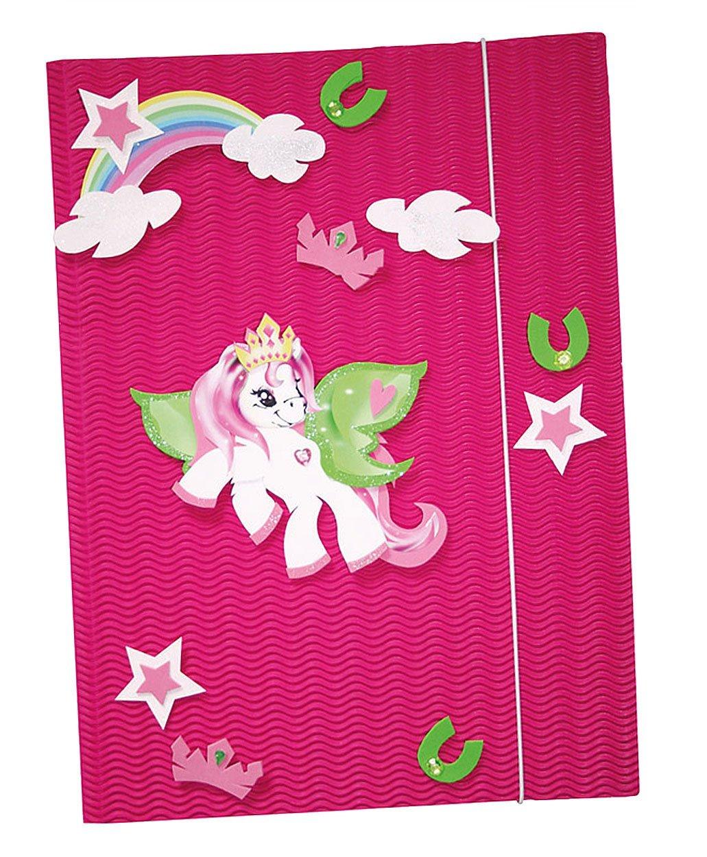 Unbekannt Bastelset 3-D Gummizugmappe A3 Mappe - Pony Pferd Regenbogen - z.B. für Zeichnungen Zeugnisse Malmappe Zeichenmappe Kinder Mädchen Stern Kinder-Land