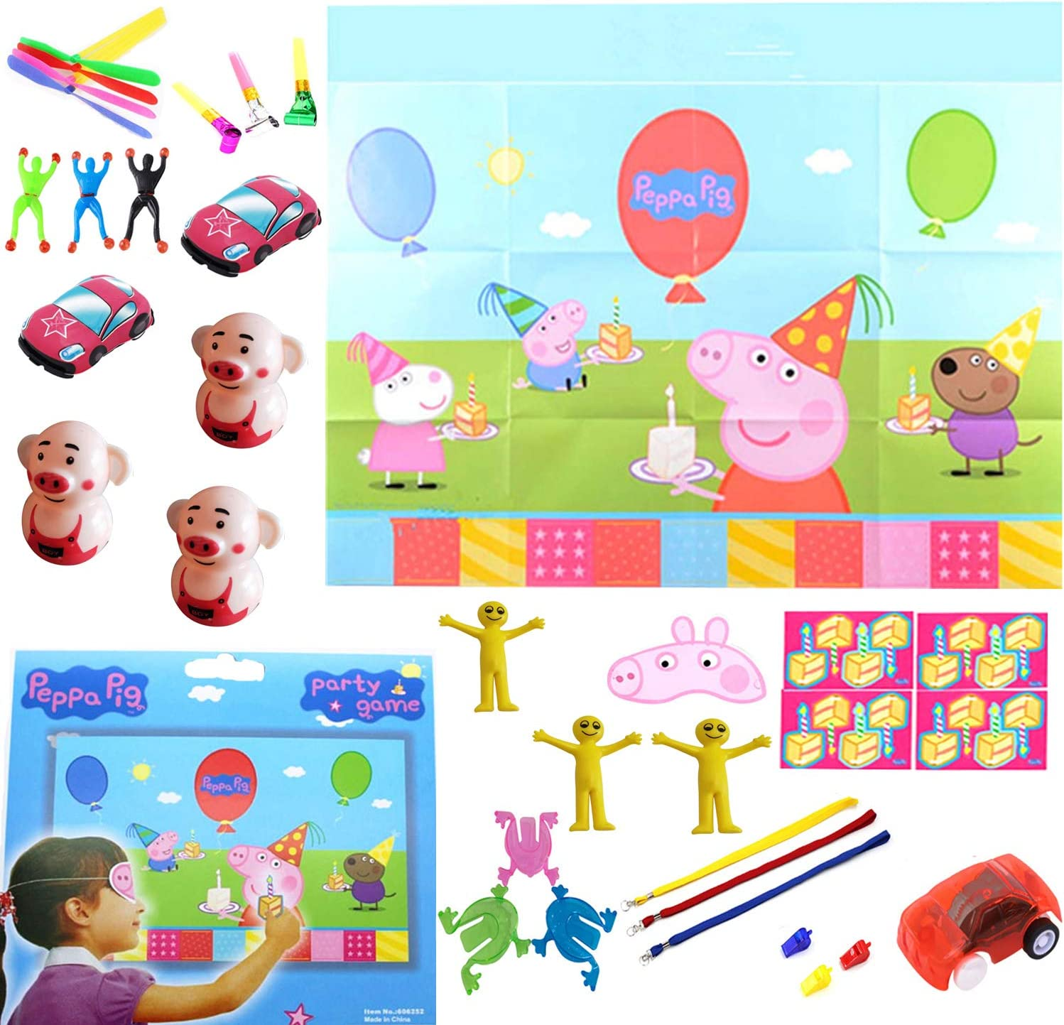 Amazon Com Party Games For Kids Pin The Cake On The Peppa Pig Game Halloween Christmas Party Favors Decorations Activities With 18pcs Free Awards Toys Games