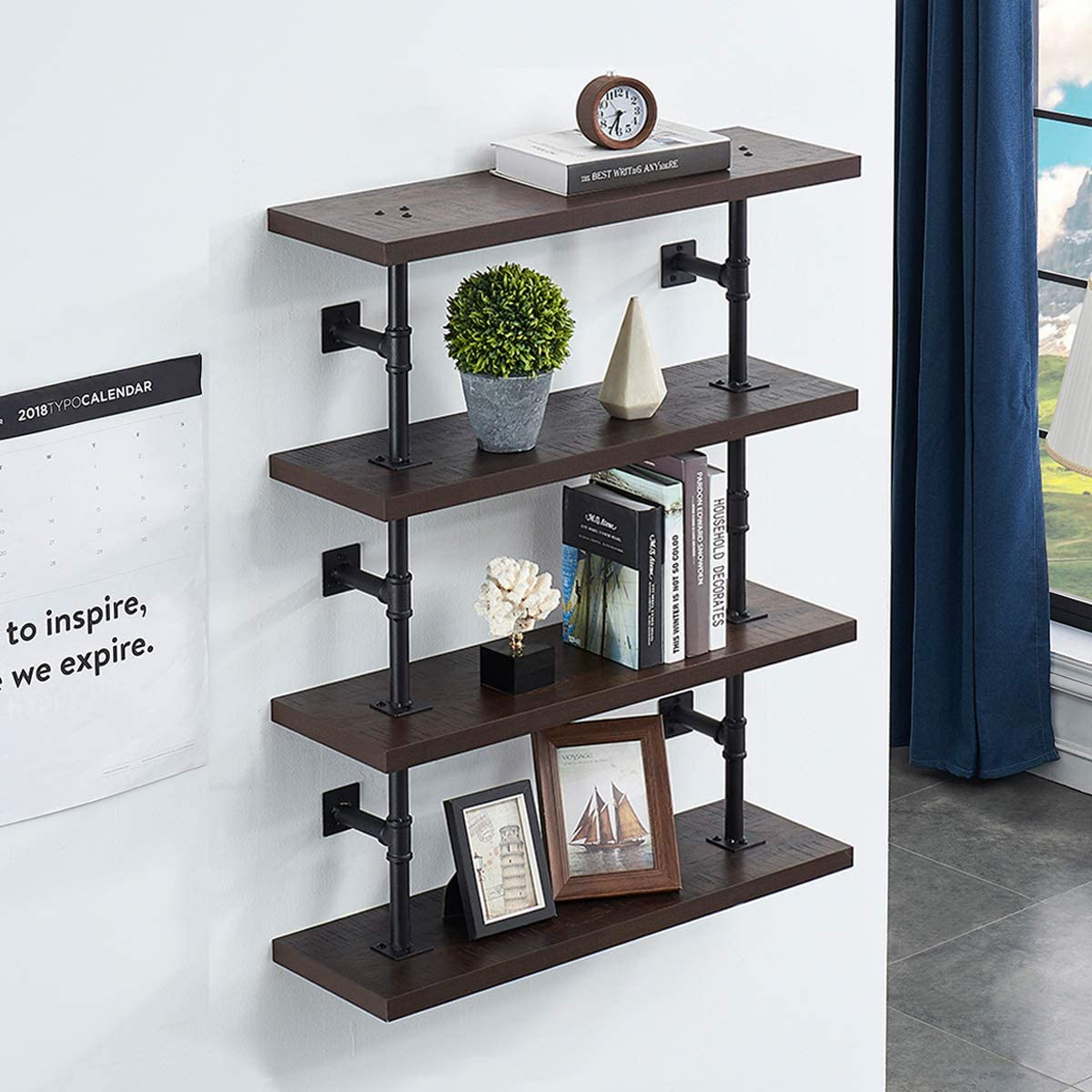 FurniChoi Rustic Wall Pipe Shelf, Wood and Metal Floating Shelf, Industrial Hanging Display Shelf for Home and Office Organizer, 4 Tier, Espresso