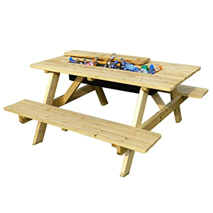 Groovy Merry Garden Cooler Wooden Picnic Table And Bench Kit Outdoor Patio Dining Table Natural Forskolin Free Trial Chair Design Images Forskolin Free Trialorg