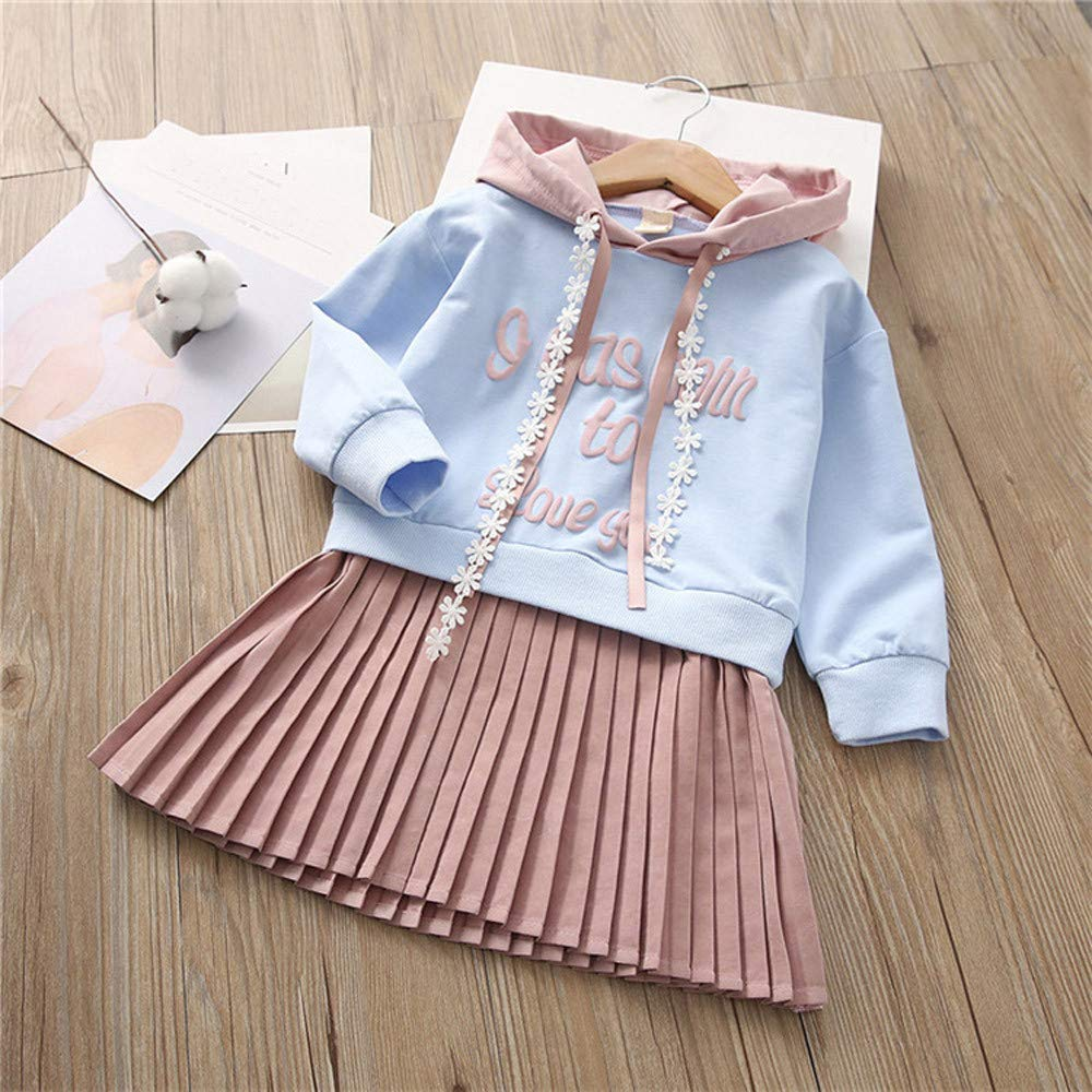 kaiCran Little Girls Long Sleeve Sweatshirt Dress with Letter Print Sweet Hooded Princess Skirt 2-6 Years